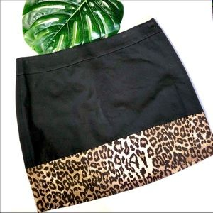 Banana Republic Black & Leopard Mini Skirt 14